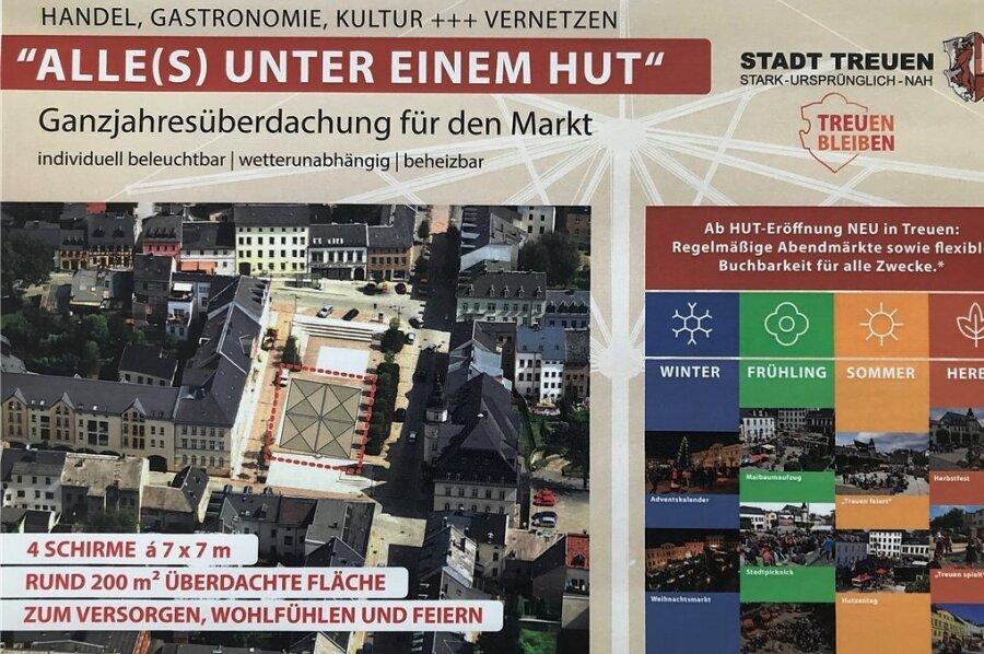 """Dieses Plakat fasst die Idee, mit dem sich die Stadt Treuen dieses Jahr beim Wettbewerb """"Ab in die Mitte"""" beteiligt, zusammen."""