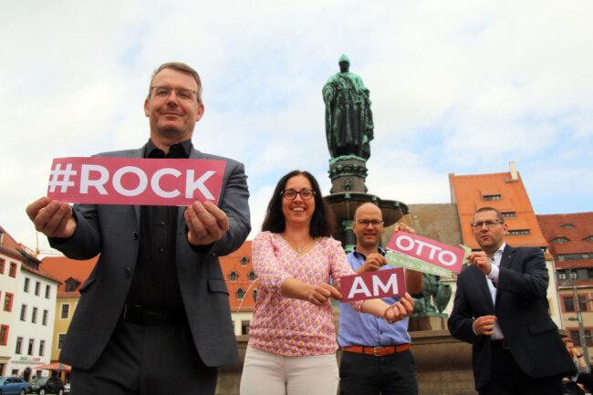 """Sven Krüger, Anja Fiedler, David Bojack und Holger Scheich (v.l.) werben für das neue Veranstaltungsformat """"Rock am Otto"""""""