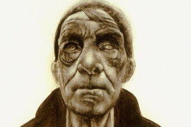 """Schweres Leben ins Gesicht geschrieben: Der """"Blinde Seemann"""" von Frank Degelow."""