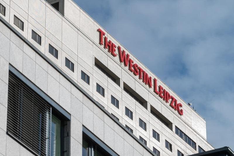 Blick auf das Hotel Westin Leipzig.
