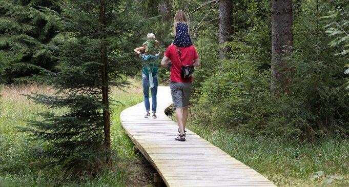 Familie Richter aus Stuttgart hat bei ihrem Urlaub im Erzgebirge auch den neu gestalteten Moorpfad an der Siebensäure erkundet.