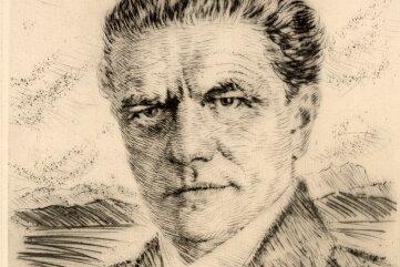 Leopold Wächtler, Selbstporträt (vermutet) - Kaltnadelradierung.
