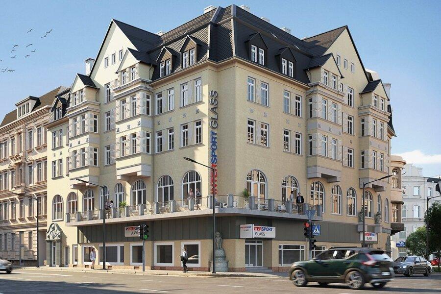 So soll das Haus nach seiner Fertigstellung aussehen, aufgenommen wird dabei als Fassadengestaltungselement der ursprünglich vorhandene, umlaufende Balkon.
