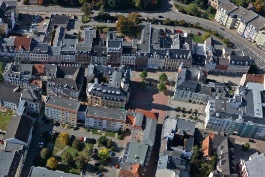 Der Blick aus der Vogelperspektive auf den Bereich zwischen Taubenmarkt und Mannichswalder Platz.