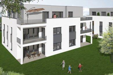 An der Prof.-Richard-Beck-Straße auf dem Zeller Berg entstehen bis 2022 insgesamt drei große Wohnhäuser. Dieser Entwurf zeigt, wie die fertigen Gebäude eines Tages aussehen sollen.