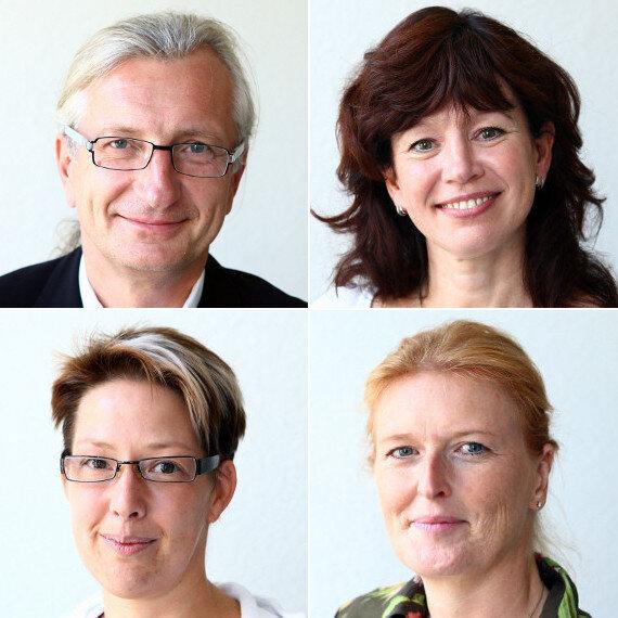 oben: Dr. Uwe Richter und Sylvia Schneider; unten: Nancy Ahrens und Dr. Dorothea Händel