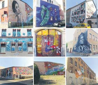 Einige Kunstwerke, die von Ibug 2014 in Crimmitschau noch vorhanden sind.