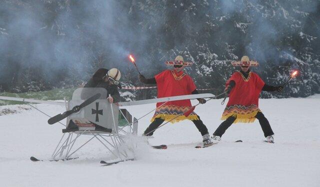 """Unter dem Motto """"Wild West im Erzgebirge"""" feierten Wintersportler den diesjährigen Ski-Fasching in Carlsfeld"""