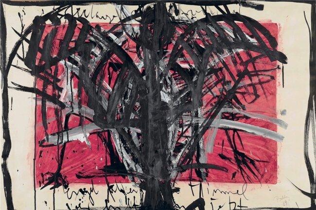 """Das Mischtechnik-Bild """"Engel fallen vom Himmel"""" von Bärbel Bohley stammt aus dem Jahr 1989."""
