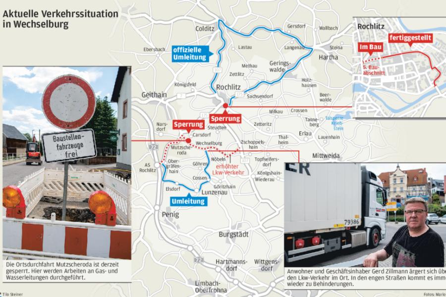 Sanierung der B107: Verkehrslage in Wechselburg bleibt angespannt