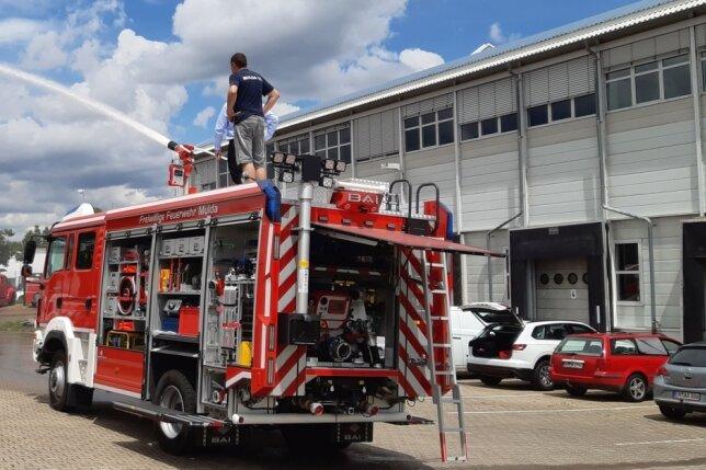 Spritzig: Das neue Tanklöschfahrzeug der Feuerwehr Mulda.