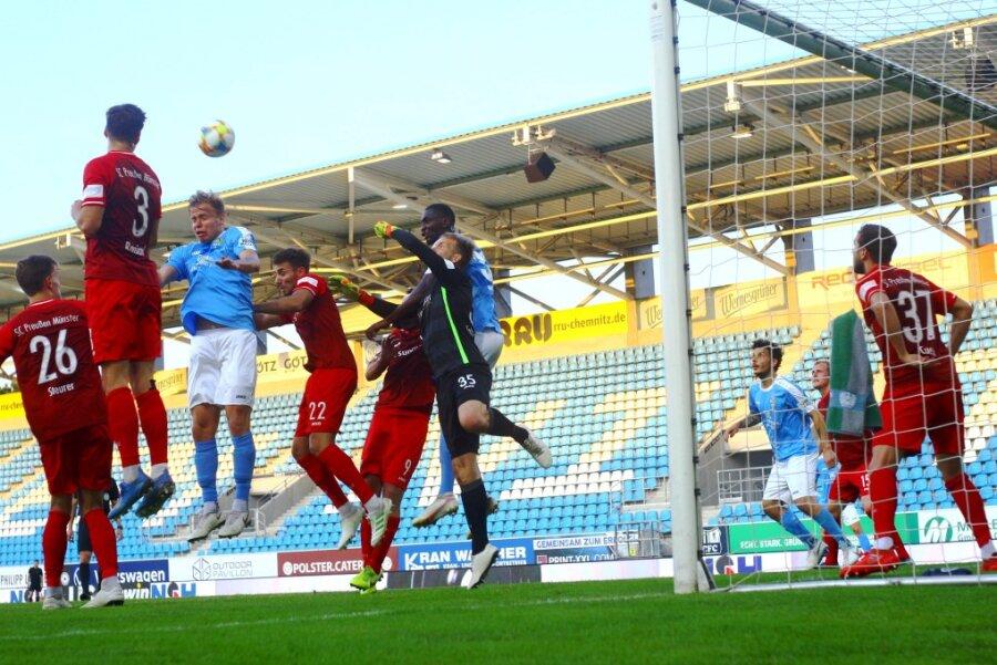 Beim Heimspiel gegen Münster schafften die Chemnitzer mit einem Last-Minute-Treffer einen knappen 1:0-Sieg.