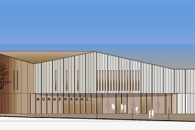 So soll der Eingangsbereich des Bürgersaales am Anlagenpark einmal aussehen.
