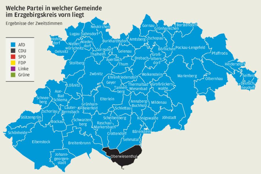 Ein Landkreis färbt sich blau: Wie das Erzgebirge gewählt hat