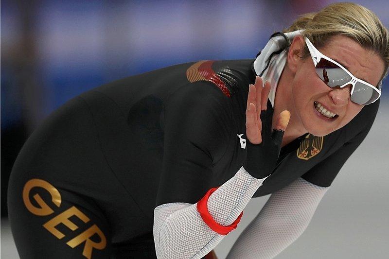 Claudia Pechstein legte im Oval von Gangneung gut los, brach nach sieben Runden aber ein.