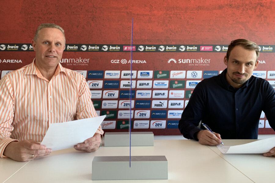 Geschäftsführer Toralf Wagner (links) und Sportdirektor Toni Wachsmuth (rechts) wollen den FSV Zwickau gemeinsam weiterentwickeln.