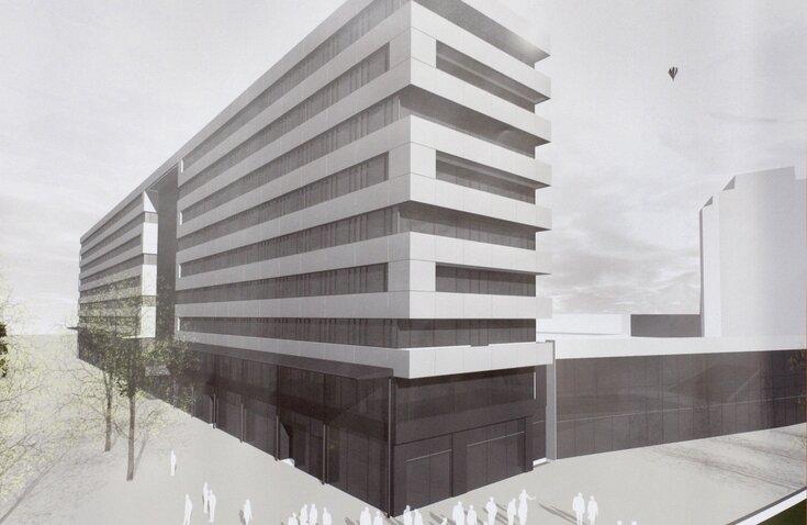 """<p class=""""artikelinhalt"""">Der Durchgang im Erdgeschoss des Rawema-Haus (l.) will der Investor schließen und ein Verbindungsgebäude zur ehemaligen Bundesbank (im Bild rechts früherer Entwurf) errichten. </p>"""