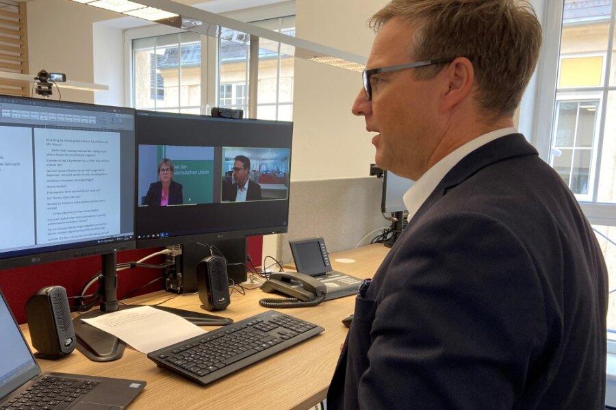 """""""Freie Presse""""-Chefredakteur Torsten Kleditzsch sprach per Videoschalte mit Sachsens Kultusministerin Barbara Klepsch (CDU)."""