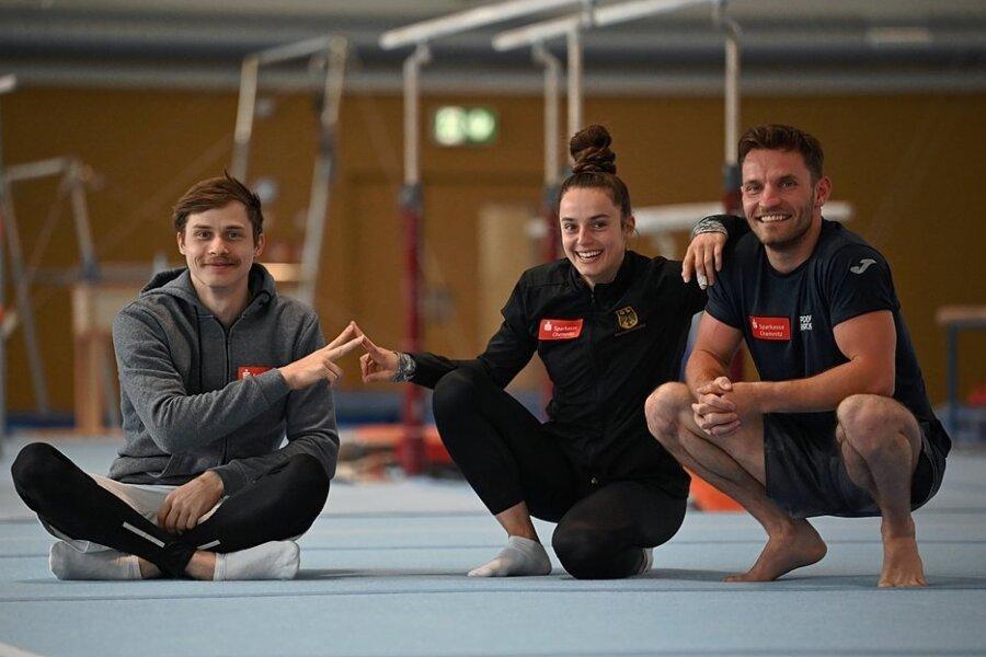 Vom KTV Chemnitz kämpfen Pauline Schäfer und Andreas Bretschneider (r.) um das Olympiaticket, Ivan Rittschik visiert Meisterschaftsmedaillen an.