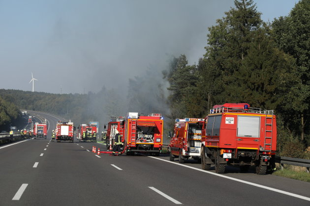 Auf der Autobahn 4 zwischen Berbersdorf und Siebenlehn ist es am Dienstag zu einem Brand gekommen.