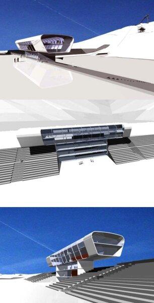 Ähnlich futuristisch wie den Kampfrichterturm zeichneten die Gebrüder Rostock aus Klingenthal das Empfangsgebäude der Vogtland-Arena in den ersten Entwürfen vor Beginn der Bauphase. Damals ging der Kreistag noch von 7,1 Millionen Euro Kosten für die Schanze aus. Jetzt soll allein der Bau des Empfangsgebäudes vier Millionen kosten.