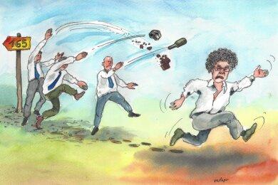 """Vom Hof gejagt und in die Wüste geschickt: So sieht der Karikaturist Ralf Alex Fichtner den """"Fall Matthias Moosdorf""""."""