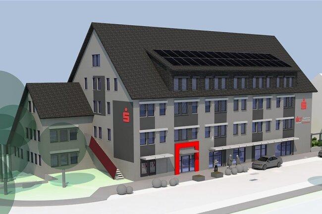 So soll die neu gestaltete Filiale der Sparkasse an der Grünhainer Straße in Schwarzenberg im Sommer 2022 aussehen. Der SB-Bereich bleibt während der gesamten Umbauzeit durchweg erreichbar.