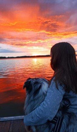 Ein Sonnenuntergang am See.
