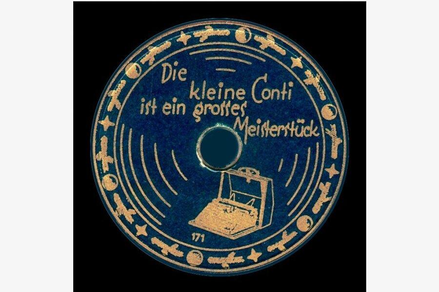 Eine Werbeplatte der Chemnitzer Wanderer-Werke für ihre Continental-Schreibmaschinen.