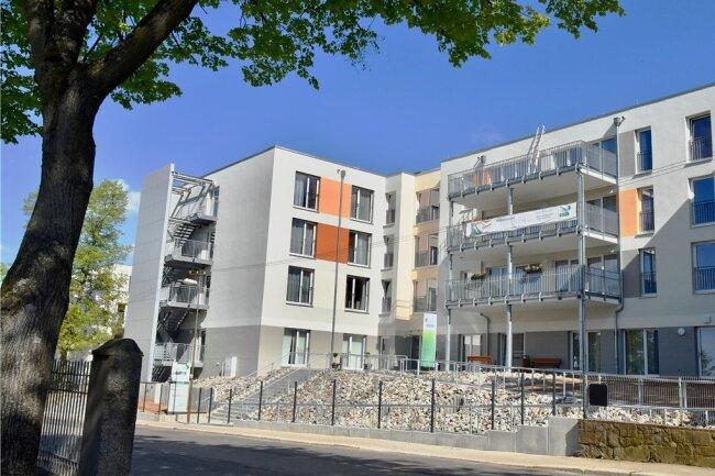 Außenansicht des neuen und vom Träger Alloheim betriebenen Pflegeheims An der alten Färberei in Limbach-Oberfrohna.