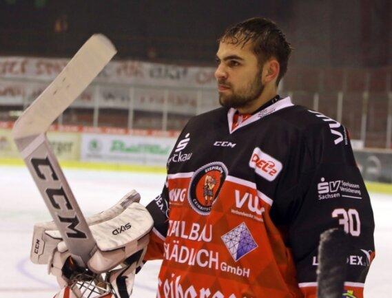 Torhüter Mark Arnsperger stand am Sonntag zum dritten Mal in dieser Saison im Eispiraten-Kasten.