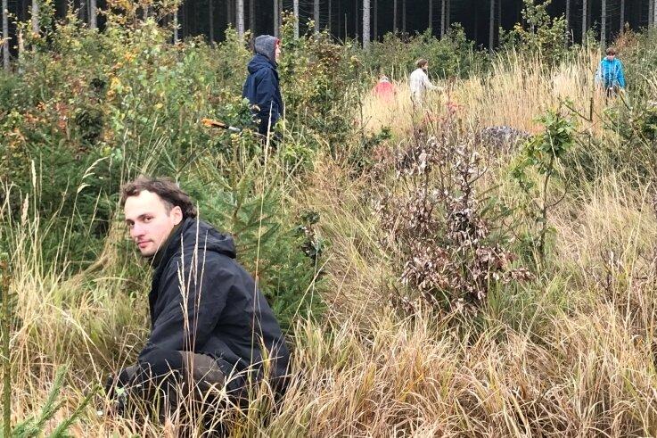 Projektleiter Aaron Krautheim (l.) und Teilnehmer der Projektwoche des Vereins Bergwaldprojekt pflegen derzeit einen jungen Mischwald in einem staatlichen Waldgebiet bei Nassau.
