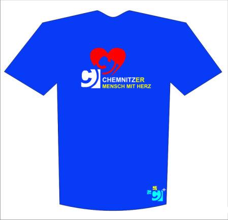 """Vorschlag 3, """"Chemnitzer Mensch mit Herz"""": Der T-Shirt-Entwurf der Chemnitzer Werbeagentur Kent & Clark."""