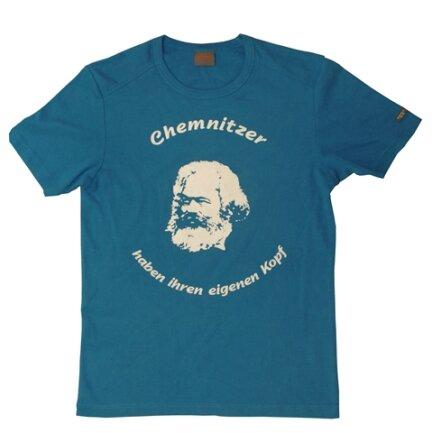 """Vorschlag 1, """"Chemnitzer haben ihren eigenen Kopf"""": Die Chemnitzerin Ines Richter schickte ein fertig gestaltetes Shirt mit der Aufschrift."""