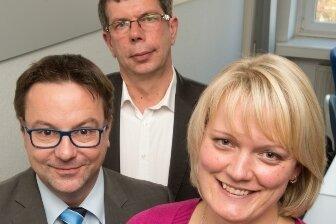 Gefragte Experten: René Fischer, Sparkassenversicherung Sachsen; Peter Klipp, Stiftung Warentest, und Susan Lorenz, Deutsche Rentenversicherung (v. l.).