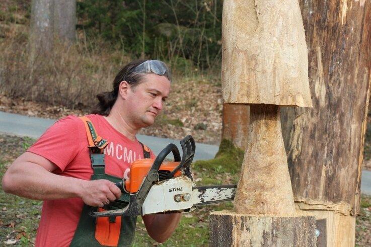 Christian Wetzel war mit der Kettensäge im Außengelände der Thumer Tagespflege Waldfrieden anzutreffen.