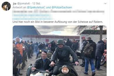 Auf Twitter wurden Videos und Bilder von dem Gespann verbreitet. Gepixelt im Screenshot: eine nachweislich falsche Angabe über den Veranstalter des Treffens. Alleiniger Veranstalter der Veranstaltung sind die Schlossbetriebe.