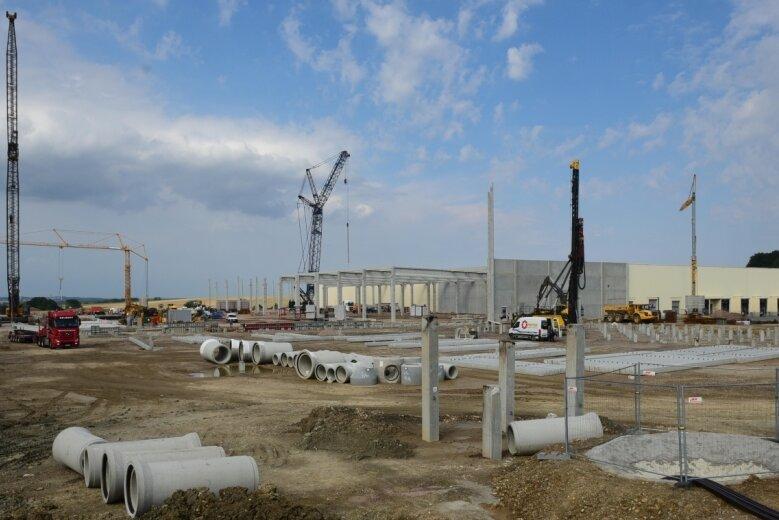 Betonpfähle werden für neue Hallen im Gewerbegebiet Auerswalder Höhe in die Erde gerammt. Zurzeit arbeiten dort sechs Baufirmen.