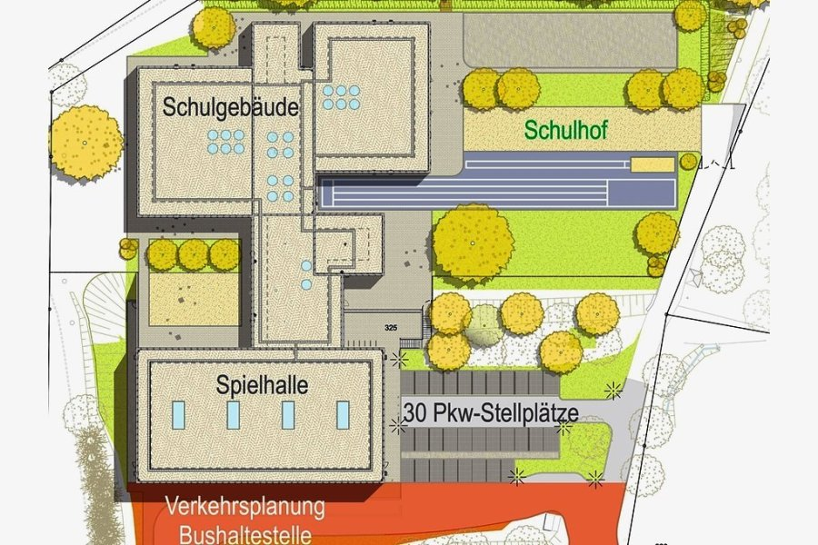 Grundriss der neuen Grundschule in Grünhainichen. Das Schulgebäude und die Sporthalle werden komplett in Holzbauweise errichtet. Lediglich der Mittelbau soll massiv gebaut werden.