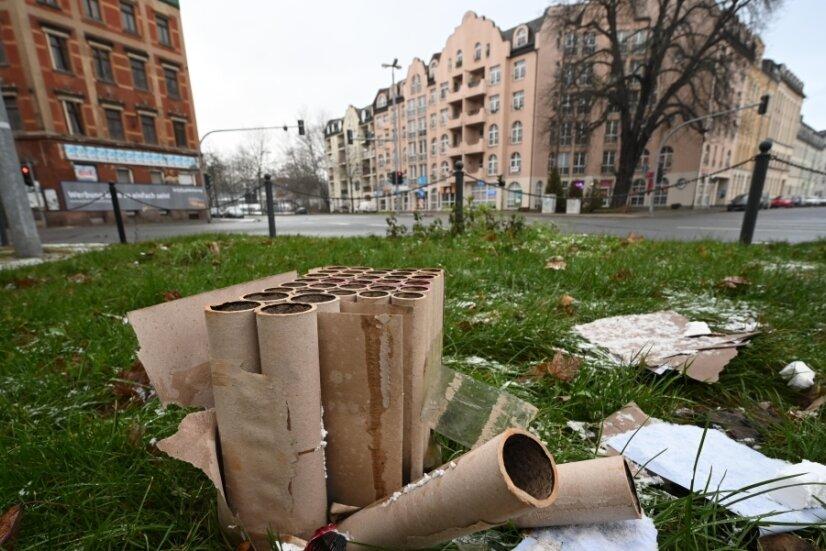Die Kreuzung Mühlen-/Müllerstraße am Morgen danach: Nicht überall wurde sich an das von der Stadt erlassene Böllerverbot auf öffentlichen Plätzen gehalten.