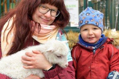 Tina Ruppert mit Sohn Max (2) aus Freiberg gehörten am Donnerstag zu den ersten Tierparkbesuchern. Hier bekommt Schäfchen Hermine eine Streicheleinheit.