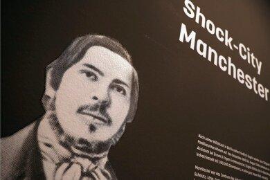 Porträt von Friedrich Engels in einer Ausstellung in Wuppertal.