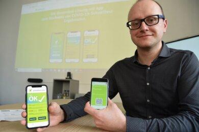 Technik gegen Papierberge und Schlangestehen: Matthes Nagel und sein Team von der Softwarefirma Simba n3 in Oelsnitz haben eine Schnelltest-App entwickelt, die im Vogtland zügig eingesetzt werden soll.