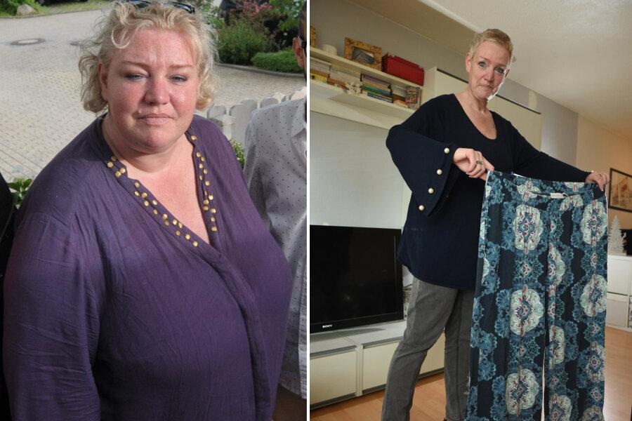 Dieselbe Frau: Kornelia Bretschneider vor der OP (links) und heute. Zwischen beiden Aufnahmen liegen 18 Monate.