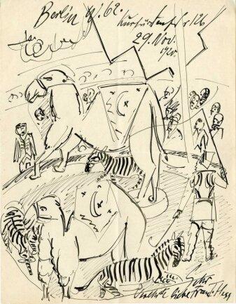 Die Tuschfederzeichnung Pechsteins aus dem Jahr 1920.