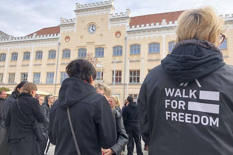 Protestaktion in Zwickau gegen moderne Sklaverei