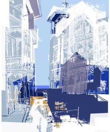 """Das Titelbild des Grafikkalenders 2021, """"Durchblick"""" von Karin Wurlitzer."""