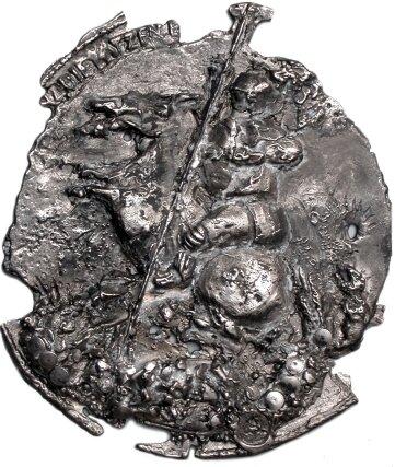 Eine der drei eisernen Medaillen auf Ritter Georg zum Schwarzenberger Kunstpreis Art figura.