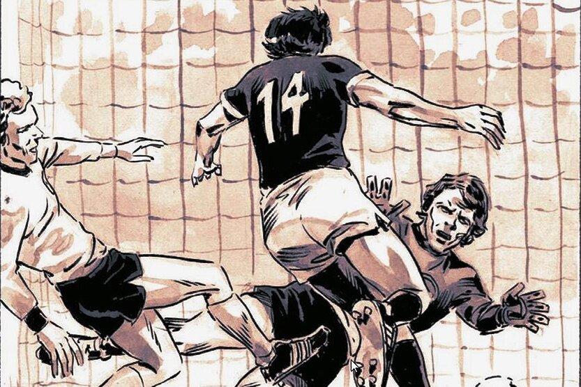 Torschütze Sparwasser als Comic-Figur. Er schießt den Ball über Torwart Sepp Maier hinweg ins Netz.