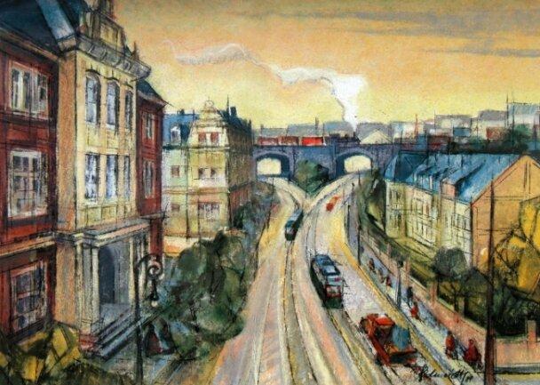 Das Gemälde von Martin Schmidt zeigt die Pausaer Brücke am Oberen Bahnhof. Ein Großteil der Häuser steht heute nicht mehr.